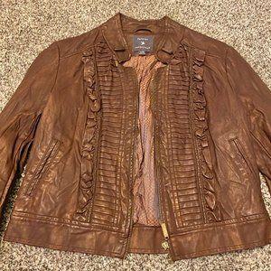 Distressed faux leather jacket junior sz Lg